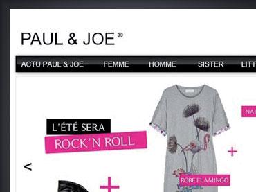 Présentation du travail de design web réalisé pour le site Paul & Joe