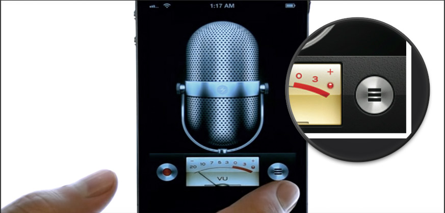 "Menu ""Hamburger""dans l'application Voice sur iOS 3"