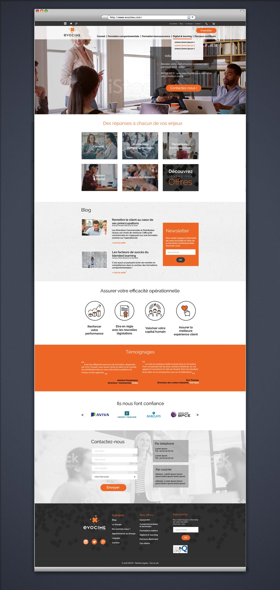 Visuel de la maquette de la page d'accueil