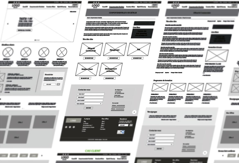 Visuel de la phase préparatoire, wireframe du site evocime.