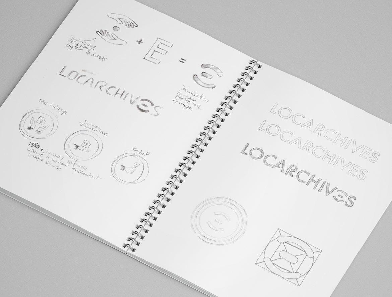 Sketchbook, recherche logo Locarchives