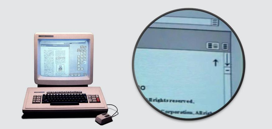 """Visuel d'un Xerox Corporation Star, 1981 montrant l'utilsation d'un des premiers """"hamburger"""" menu"""