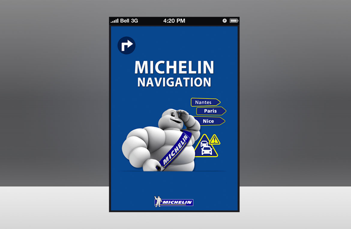 Ecran d'accueil de l'apps mobile Michelin Navigation