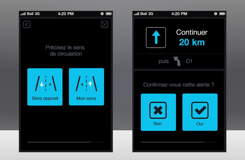 """Design série écrans Michelin Navigation en mode nuit """"Night Shift"""""""